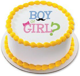 "Boy or Girl 7.5"" Round Edible Cake Topper (Each)"