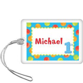 Boys' Polka Dot 1st Birthday Personalized Bag Tag (each)