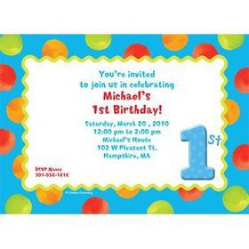 Boys' Polka Dot 1st Birthday Personalized Invitation (each)