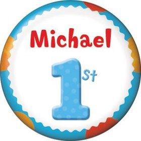 Boys' Polka Dot 1st Birthday Personalized Mini Button (each)