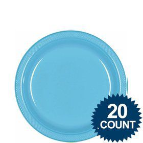 "Bright Blue 9"" Plastic Luncheon Plates (20 Pack)"