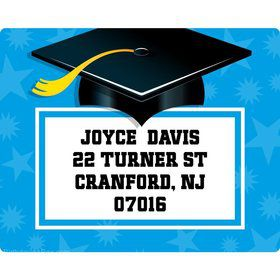 Bright Blue Grad Personalized Address Labels (Sheet of 15)