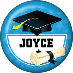 Bright Blue Grad Personalized Button (Each)