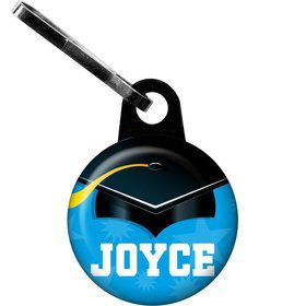 Bright Blue Grad Personalized Zipper Pull (Each)