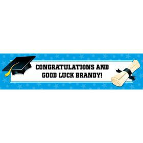 Bright Blue Graduation Personalized Banner (Each)