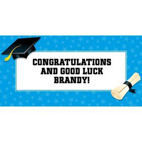 "Bright Blue Graduation Personalized Giant Banner 60x30"" (Each)"