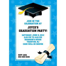 Bright Blue Graduation Personalized Invitation (Each)