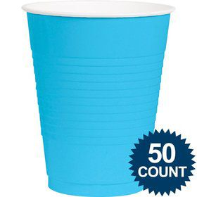 Bright Blue Plastic 16oz. Cup (50 Pack)