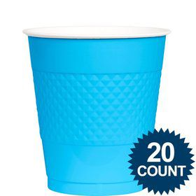 Bright Blue Plastic Cups 12 oz. (20 Pack)