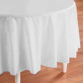 Bright White (White) Round Plastic Tablecover