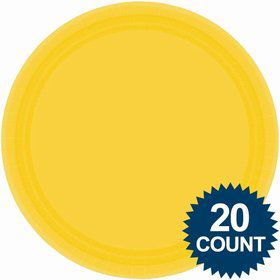 "Bright Yellow 10"" Paper Dinner Plates (20 Pack)"