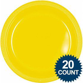 "Bright Yellow 10"" Plastic Dinner Plates (20 Pack)"