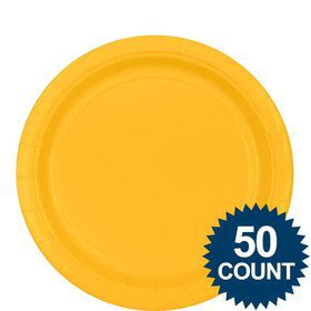 "Bright Yellow 9"" Luncheon Plates (50 Pack)"