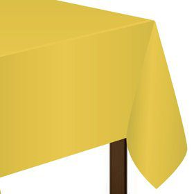 """Bright Yellow Plastic Tablecover, 54""""-108"""""""