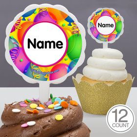 Brilliant Balloons Personalized Cupcake Picks (12 Count)