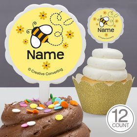 Bumble Bee Personalized Cupcake Picks (12 Count)