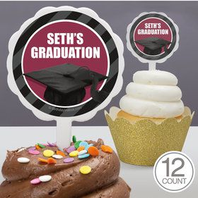 Burgundy Caps Off Graduation Personalized Cupcake Picks (12 Count)