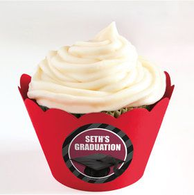 Burgundy Caps Off Graduation Personalized Cupcake Wrappers (Set of 24)