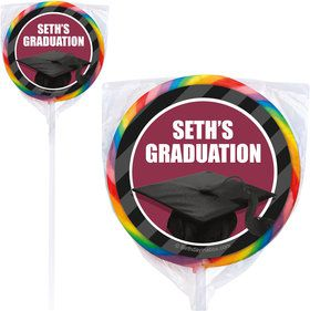 Burgundy Caps Off Graduation Personalized Lollipops (12 Pack)