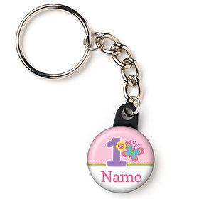 "Butterfly 1st Birthday Personalized 1"" Mini Key Chain (Each)"