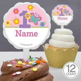 Butterfly 1st Birthday Personalized Cupcake Picks (12 Count)