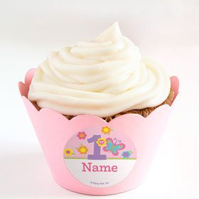 Butterfly 1st Birthday Personalized Cupcake Wrappers (Set of 24)
