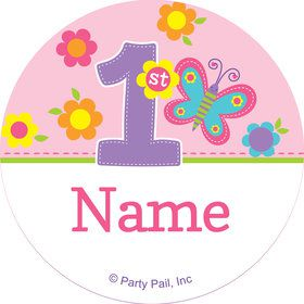 Butterfly 1st Birthday Personalized Mini Stickers (Sheet of 24)