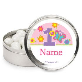 Butterfly 1st Birthday Personalized Mint Tins (12 Pack)