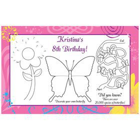 Butterfly Birthday Personalized Activity Mat (8 pack)