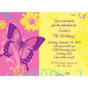 Butterfly Birthday Personalized Invitation (each)