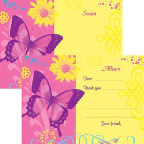 Butterfly Birthday Personalized Thank You Note