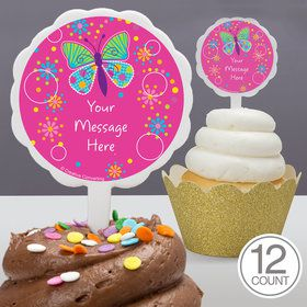 Butterfly Sparkle Personalized Cupcake Picks (12 Count)