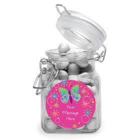Butterfly Sparkle Personalized Glass Apothecary Jars (10 Count)