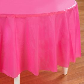 Candy Pink (Hot Pink) Round Plastic Tablecover