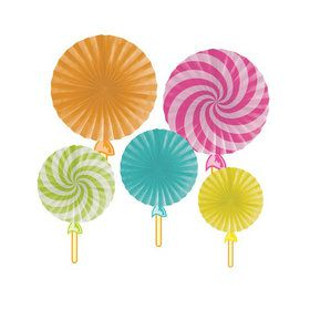 Candy Shop Lollipop Paper Fans (5)