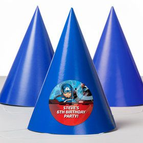 Captain America Personalized Party Hats (8 Count)