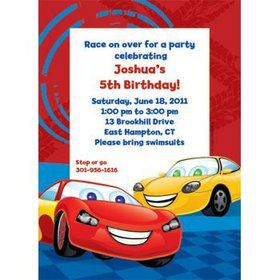 Cars Too Personalized Invitation (each)
