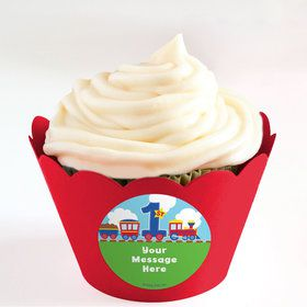 Cars, Trucks, & Trains Personalized Cupcake Wrappers (Set of 24)