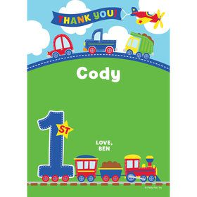 Cars, Trucks, & Trains Personalized Thank You (Each)