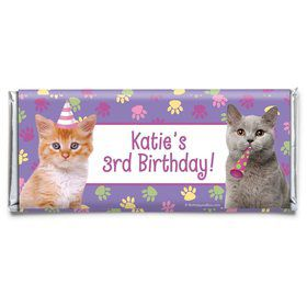 Cat Party Personalized Candy Bar Wrapper (Each)