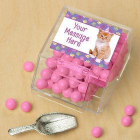 Cat Party Personalized Candy Bin with Candy Scoop (10 Count)