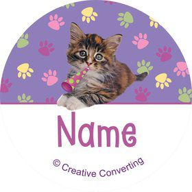 Cat Party Personalized Mini Stickers (Sheet of 24)