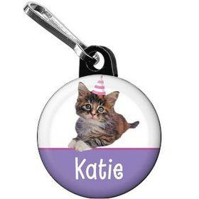 Cat Party Personalized Mini Zipper Pull (each)