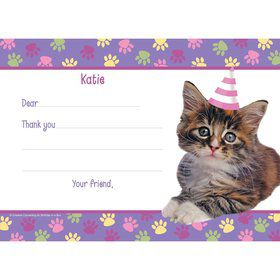 Cat Party Personalized Thank You Note (each)