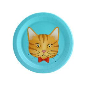 Cats Meow Orange Cat Dessert Plate (8 Count)