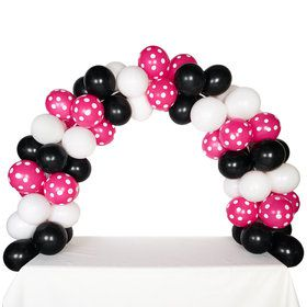 Celebration Tabletop Balloon Arch-Black, White Hot Rose with White Dots