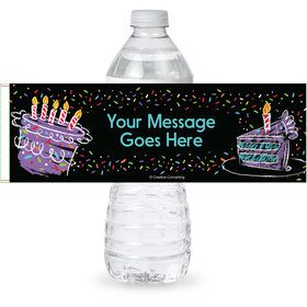 Chalk Birthday Personalized Bottle Label (Sheet of 4)