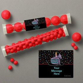 Chalk Birthday Personalized Candy Tubes (12 Count)