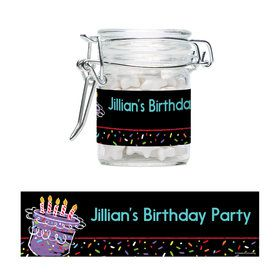 Chalk Birthday Personalized Glass Apothecary Jars (12 Count)