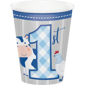 Charming Farmhouse 1st Birthday 9oz Paper Cups (8)